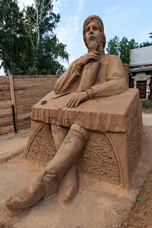 veliky: ROSTOV VELIKY, RUSSIA - AUGUST 25: Sand sculptures are dedicated to the 40th anniversary of shooting the film Ivan Vasilievich changes his profession in the event of the trip to the Golden Ring of Russia, August 25, 2013.