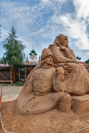 ROSTOV VELIKY, RUSSIA - AUGUST 25: Sand sculptures are dedicated to the 40th anniversary of shooting the film Ivan Vasilievich changes his profession in the event of the trip to the Golden Ring of Russia, August 25, 2013.