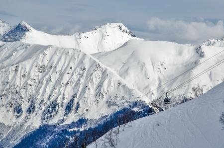Olympic ski trail Rosa Khutor, Sochi, Russia.
