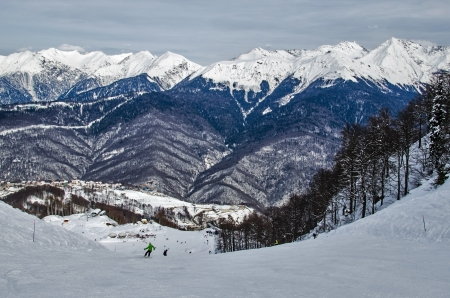 sports competition ski trail Rosa Khutor, Sochi, Russia. Stock Photo