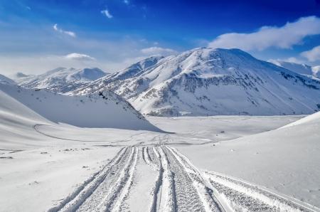 Freeride on the volcanoes of Kamchatka, Russia. photo
