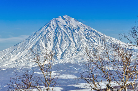 Freeride on the volcanoes of Kamchatka, Russia. photo