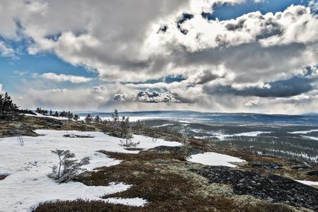 Khibiny mountain range, Kirovsk, Murmansk region, Russia. Stock Photo