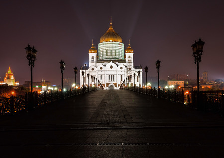 The territory of night Moscow in the vicinity of the promenade and the red square.