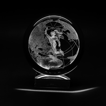 Laser engraving inside the glass, made by a company LaserGraphicArt, Moscow, Russia.