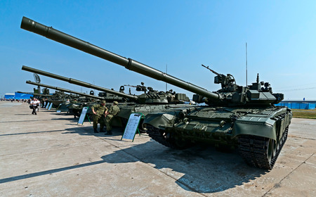 Zhukovsky, Russia - August 15, 2014: The second international Exhibition of arms, technology and innovation Oboronexport-2014 attract huge number of visitors in the event of visit in Zhukovsky, Moscow region. Editorial