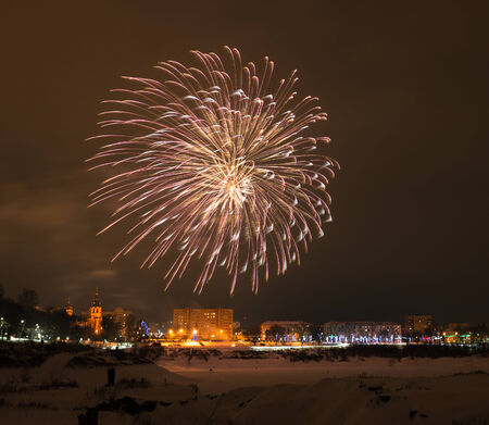 New years eve fireworks in the city of Ramenskoye, Moscow region, Russia.