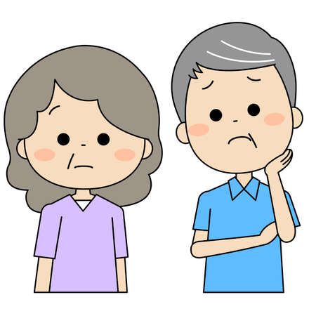 An elderly couple suffering from a wife suspected of having dementia 矢量图片