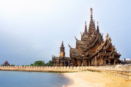 pattaya thailand: Sanctuary of Truth in Pattaya, Thailand. Stock Photo