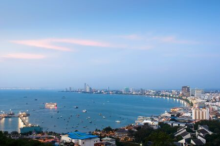 bird s eye: A bird s eye view over Pattaya at dusk Stock Photo