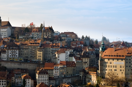 freiburg: View over the historic city center of Fribourg, Switzerland  Stock Photo