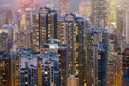 Telephoto of Hong Kong high rise apartment buildings at night Stock Photo - 15531490