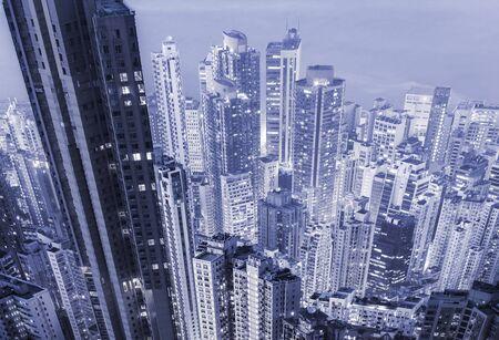 megacity: Futuristic megacity skyscrapers in a blue color tone.