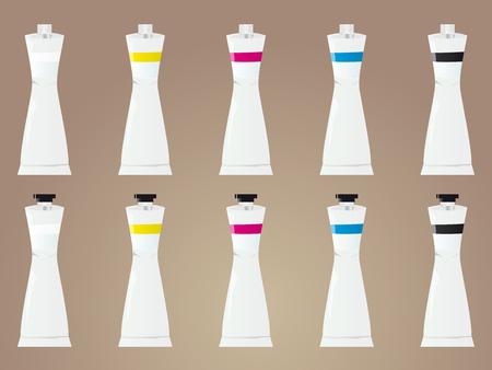 paiting: Vector illustration of guache paints tubes Illustration