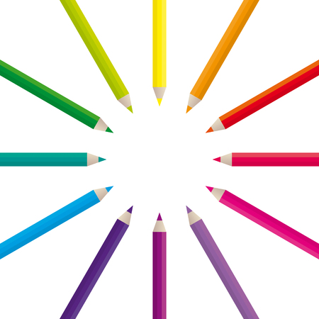 Vector illustration of colored pencils on a white background. Vector