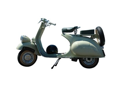Vintage green vespa scooter. Vector path is included on file. Stock Photo
