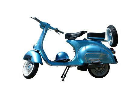 vespa: Vintage blauwe Vespa scooter. Vector pad is opgenomen in ons bestand.