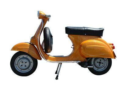 Vintage orange vespa scooter