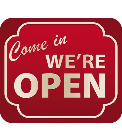 informative: Vector illustration of Come In Were Open Sign with volume Stock Photo