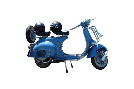 Vintage blue scooter. Vector path is included on file.