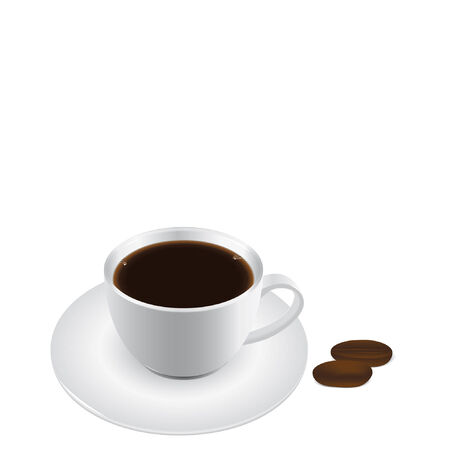 Vector illustration of a coffee cup and coffee beans. Vector