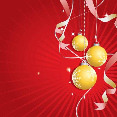 Illustration of a christmas background with golden balls  Illustration