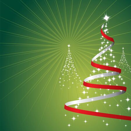 Illustration of a christmas background with trees made of stars on green Stock Photo