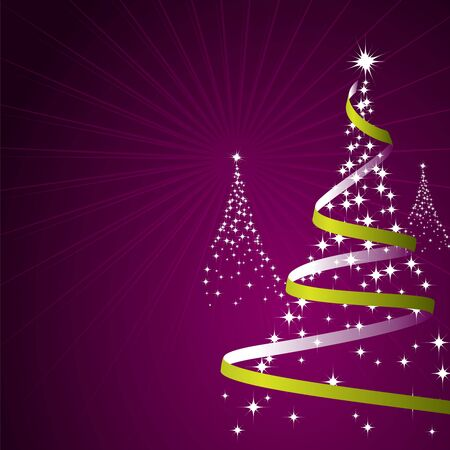 Illustration of a christmas background with trees made of stars Stock Photo