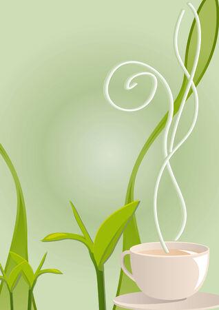 hojas de te: Ilustraci�n vectorial de un t� caliente taza de fumar con hojas de t�