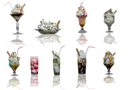 Assorted ice cream cups with reflection on white background