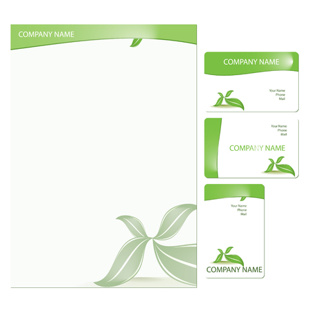 Set of three green business cards with floral elements