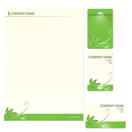 environnement entreprise: Set de trois vert des cartes d'affaires d'�l�ments floraux Illustration
