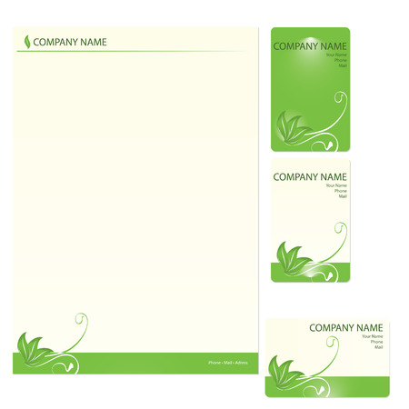 leaf logo: Set of three green business cards with floral elements