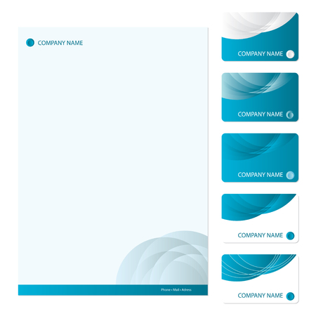 Set of five blue business cards and stationery sheet Illustration
