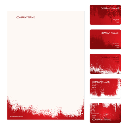 Set of five red grunge business cards and stationery sheet Illustration