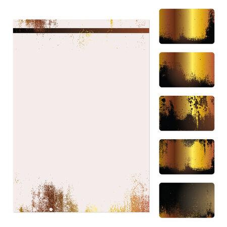 Set of five gold grunge business cards and stationery sheet Illustration