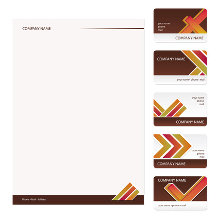 Set of five brown and white vintage business cards and stationery sheet
