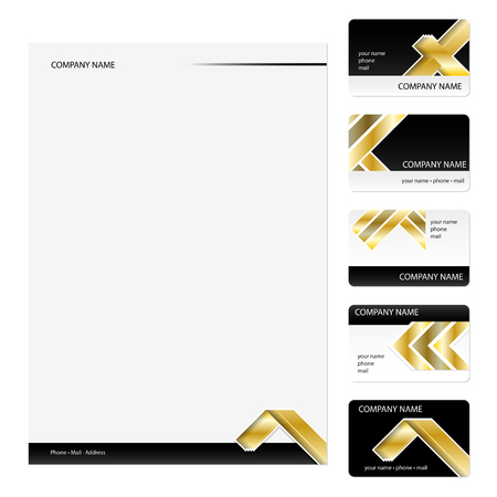 Set of five golden business cards and stationery sheet