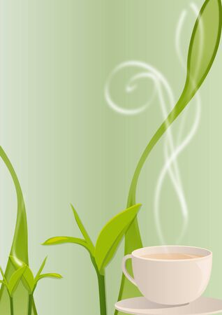 Vector illustration of a hot smoking tea cup with tea leaves background illustration