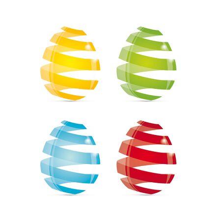 Vector illustration of striped easter eggs. Stock Photo