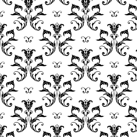 Illustration of a black and with vintage folral pattern