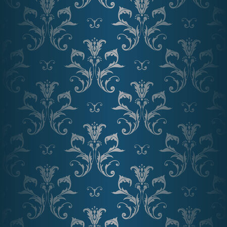 Illustration of a blue and with silver floral pattern