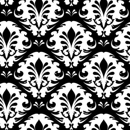 Illustration of a black and white vintage floral pattern Illustration