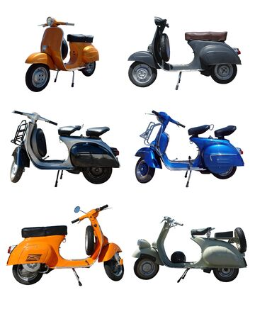 Six Pack of vintage scooters over white background Stock Photo
