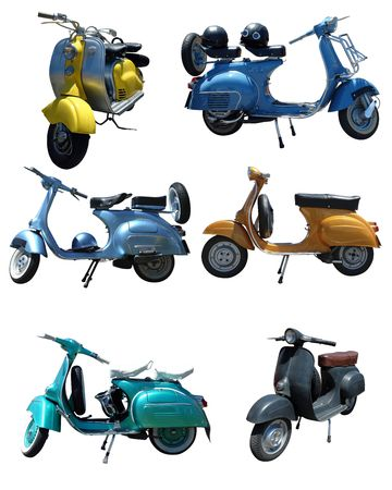 motor scooter: Six Pack of vintage scooters over white background Stock Photo