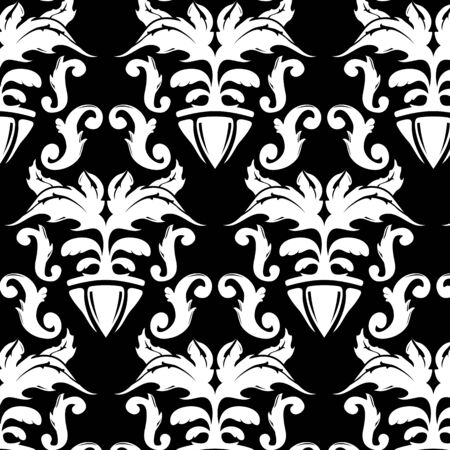 Illustration of a black and white vintage floral pattern Vector