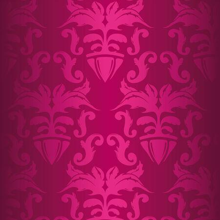 Illustration of a pink vintage floral pattern