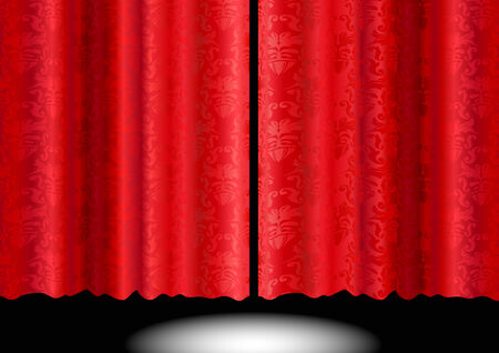 Illustration of a red silky floral pattern curtain Vector