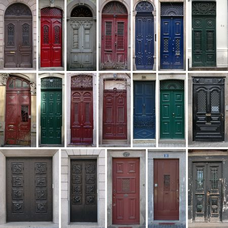 Set of 19 old doors of the city of Porto, Portugal.