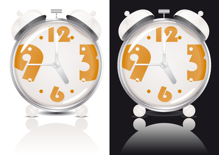 White Alarm Clock Illustration (Global Swatches Included) Vector